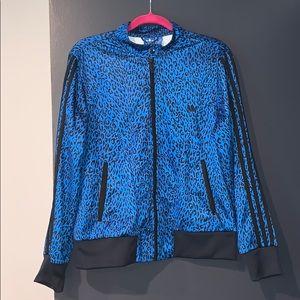 Adidas XL Blue cheetah track jacket